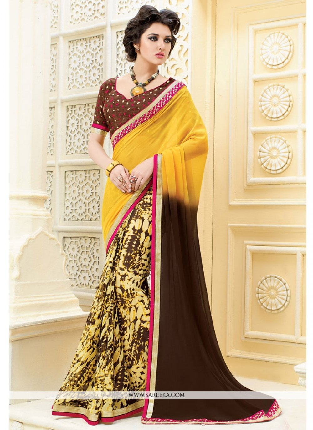 Brown and Yellow Patch Border Work Georgette Designer Saree