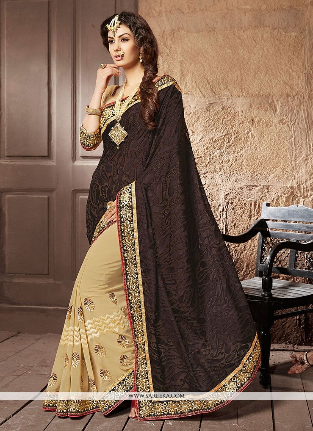 Brown Embroidered Work Brasso Georgette Designer Saree