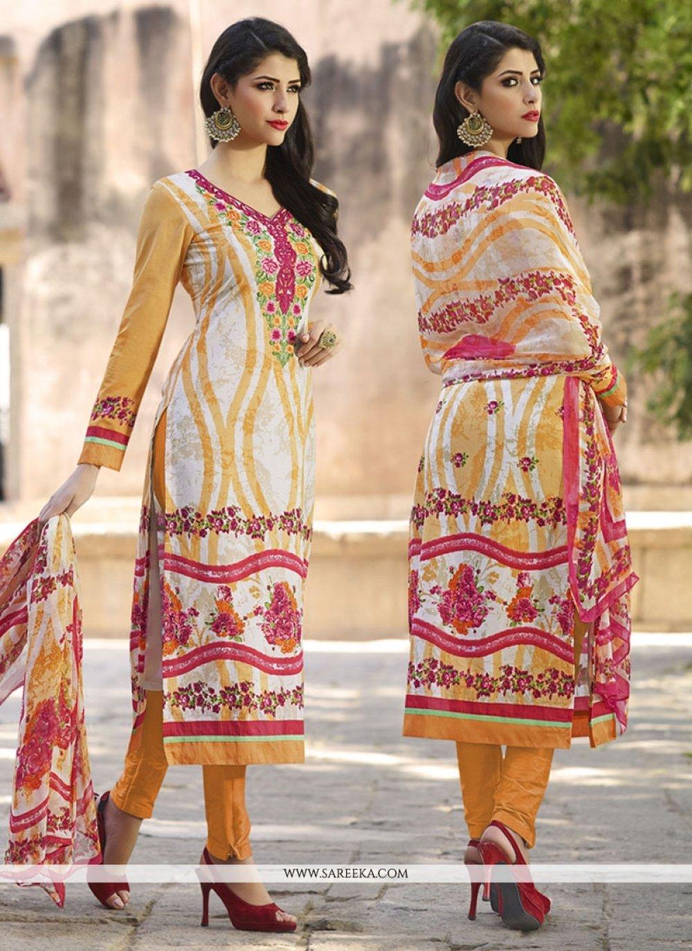 Cream and Orange Churidar Designer Suit