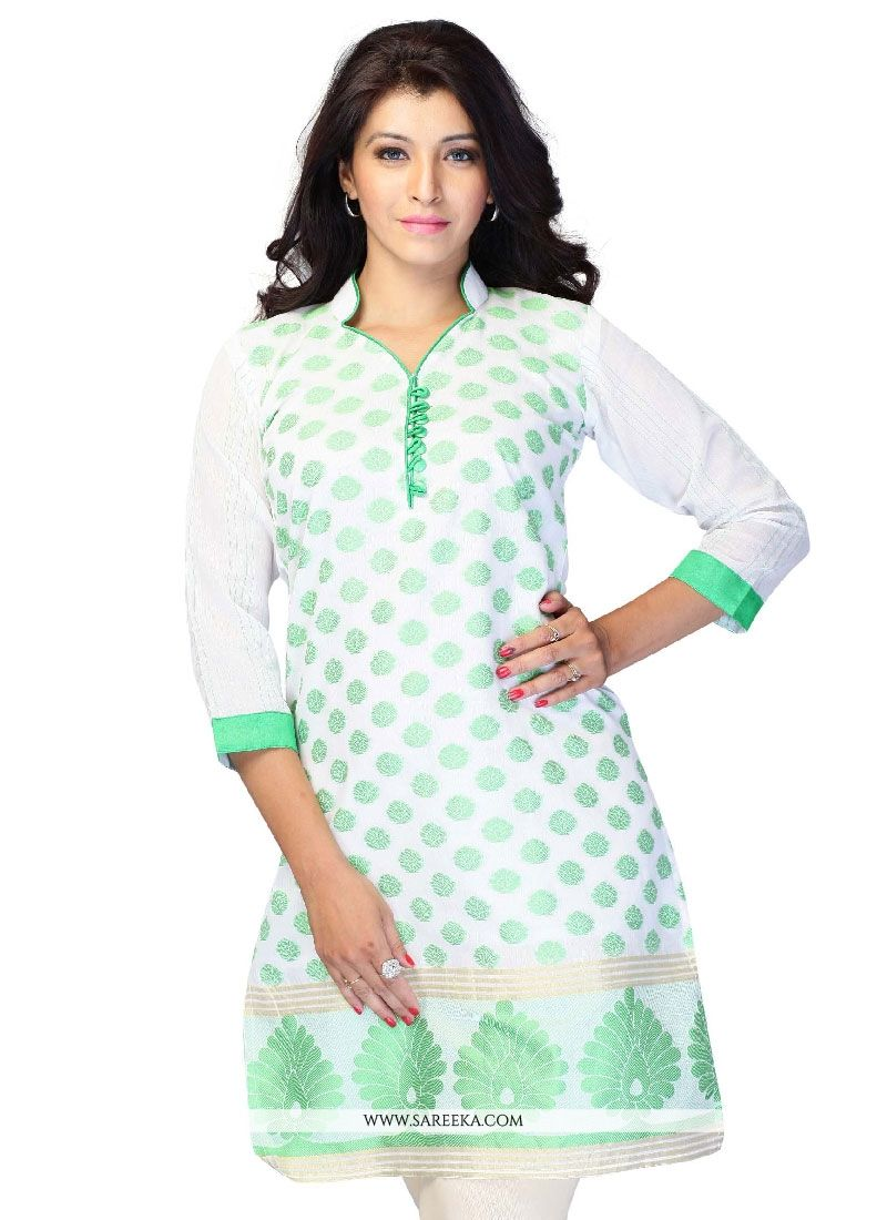 Embroidered Work Jacquard Off White Casual Kurti