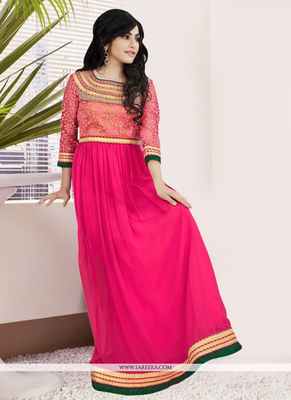 Georgette Lace Work Readymade Gown
