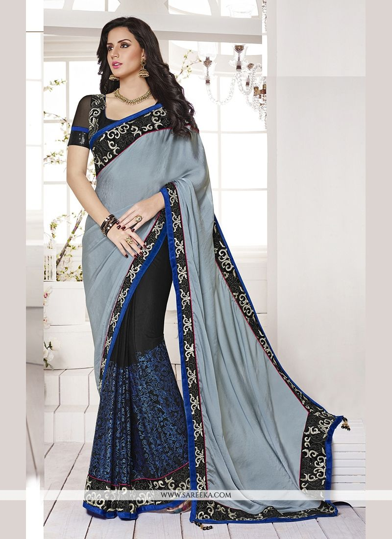 Satin Embroidered Work Classic Designer Saree