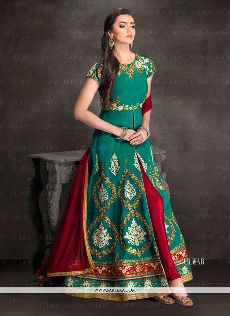 Buy Capricious Silk Embroidered Work Designer Salwar Suit Online ...