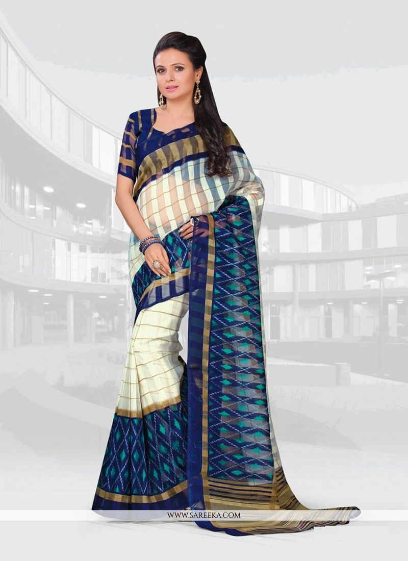 3627bcd90b Bengal Cotton Off White Print Work Casual Saree -