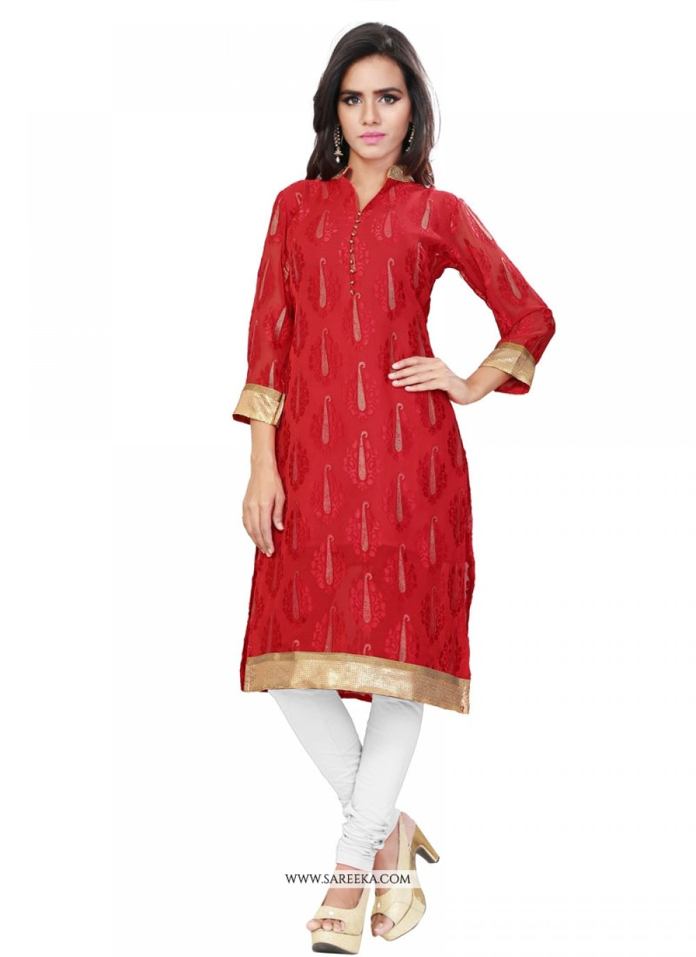 Brasso Lace Work Party Wear Kurti