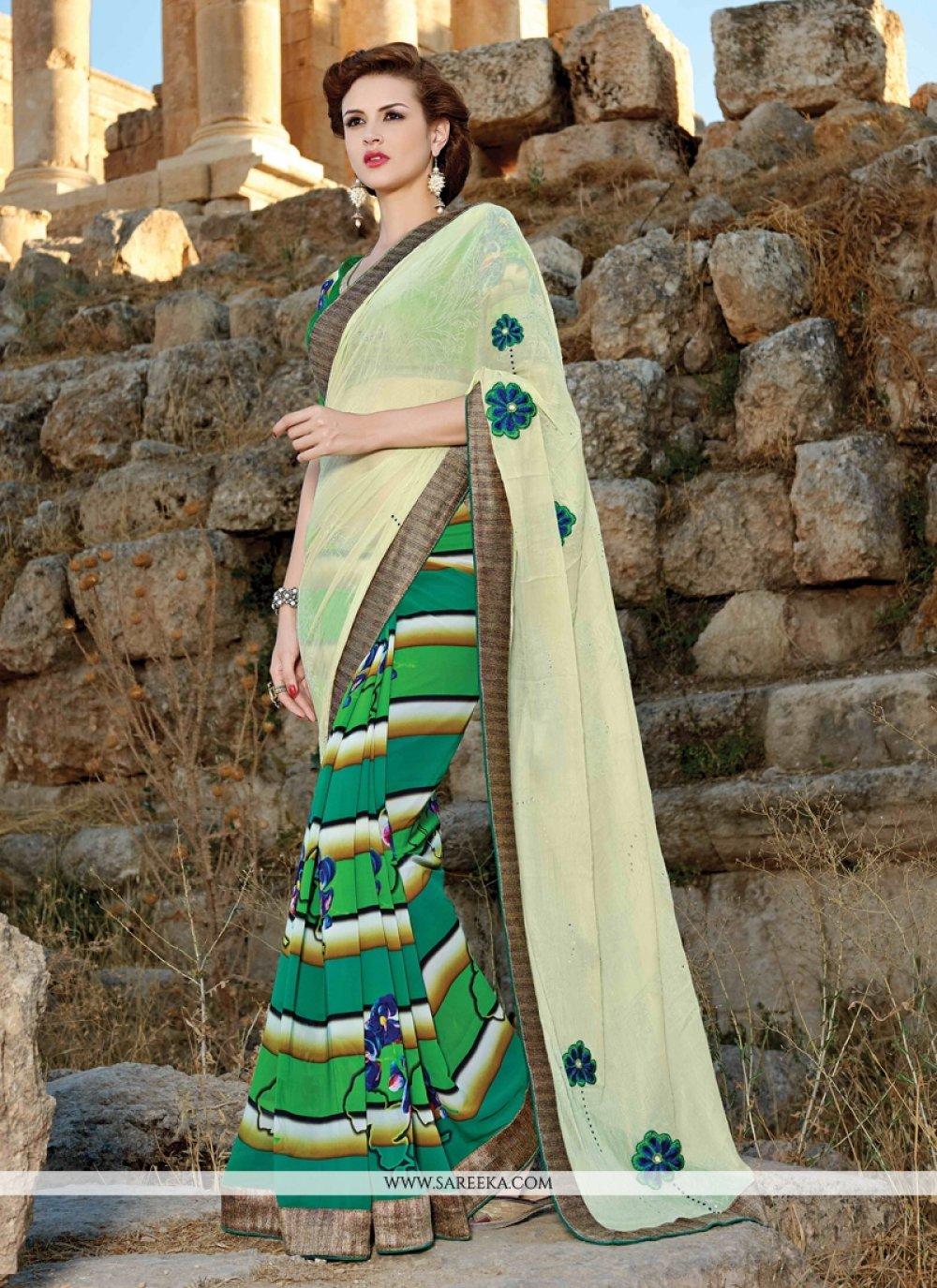 Green Faux Crepe Designer Saree