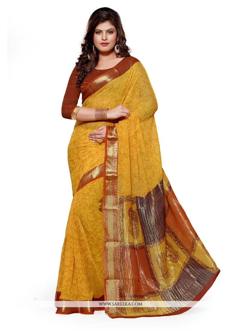 Jacquard Mustard Patch Border Work Designer Saree