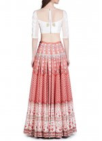 Tafeta silk Pink and White Designer Replica Lehenga Choli