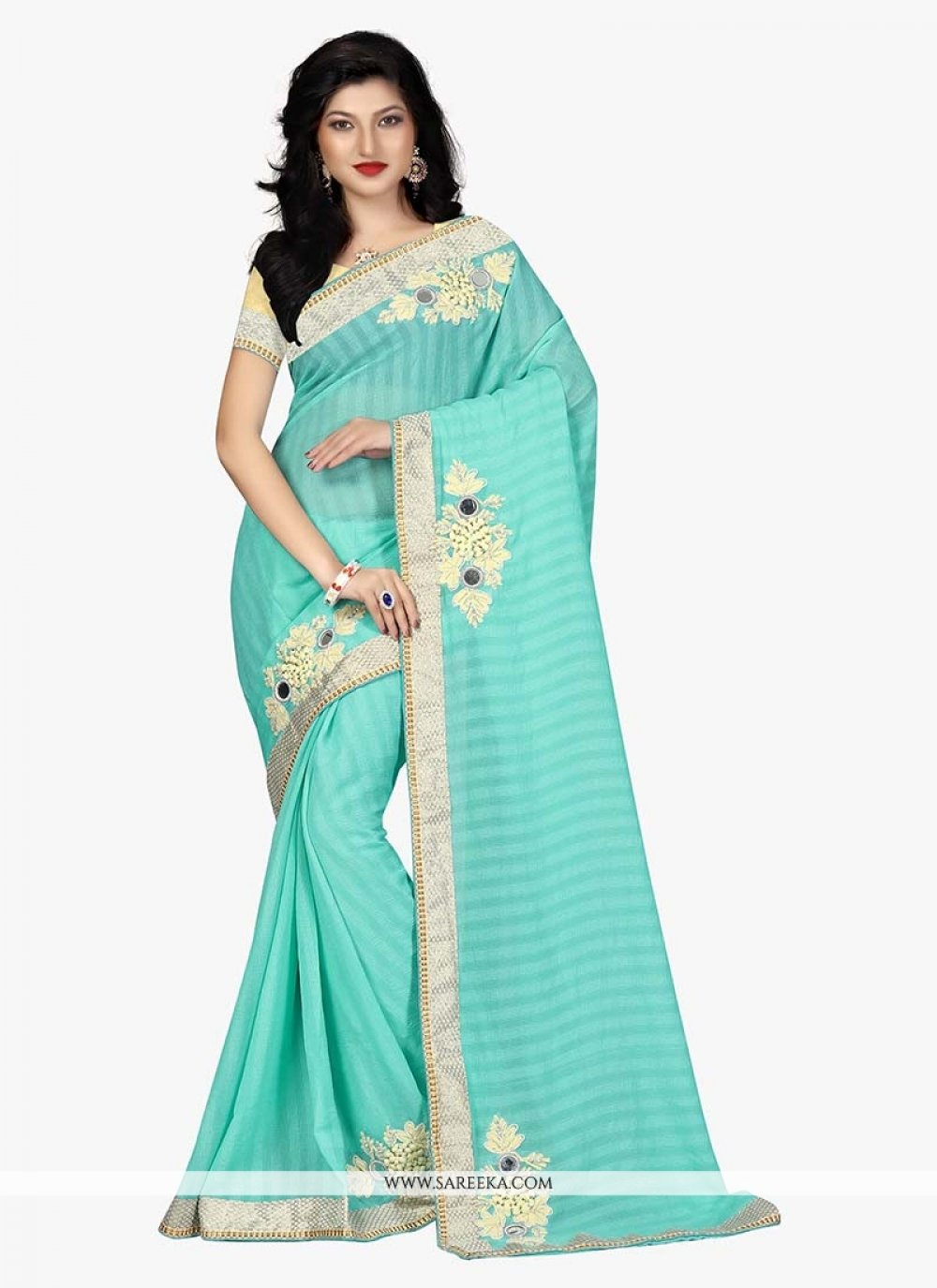 Turquoise Embroidered Work Traditional  Saree