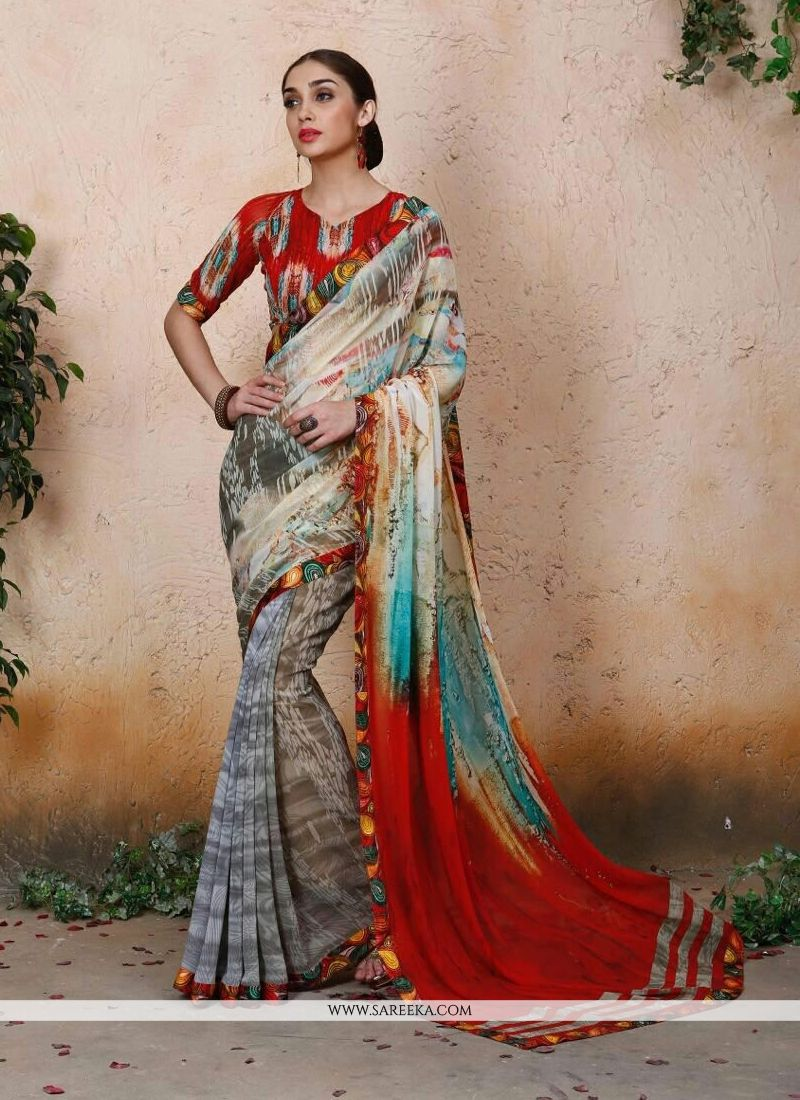 Georgette Multi Colour Designer Saree