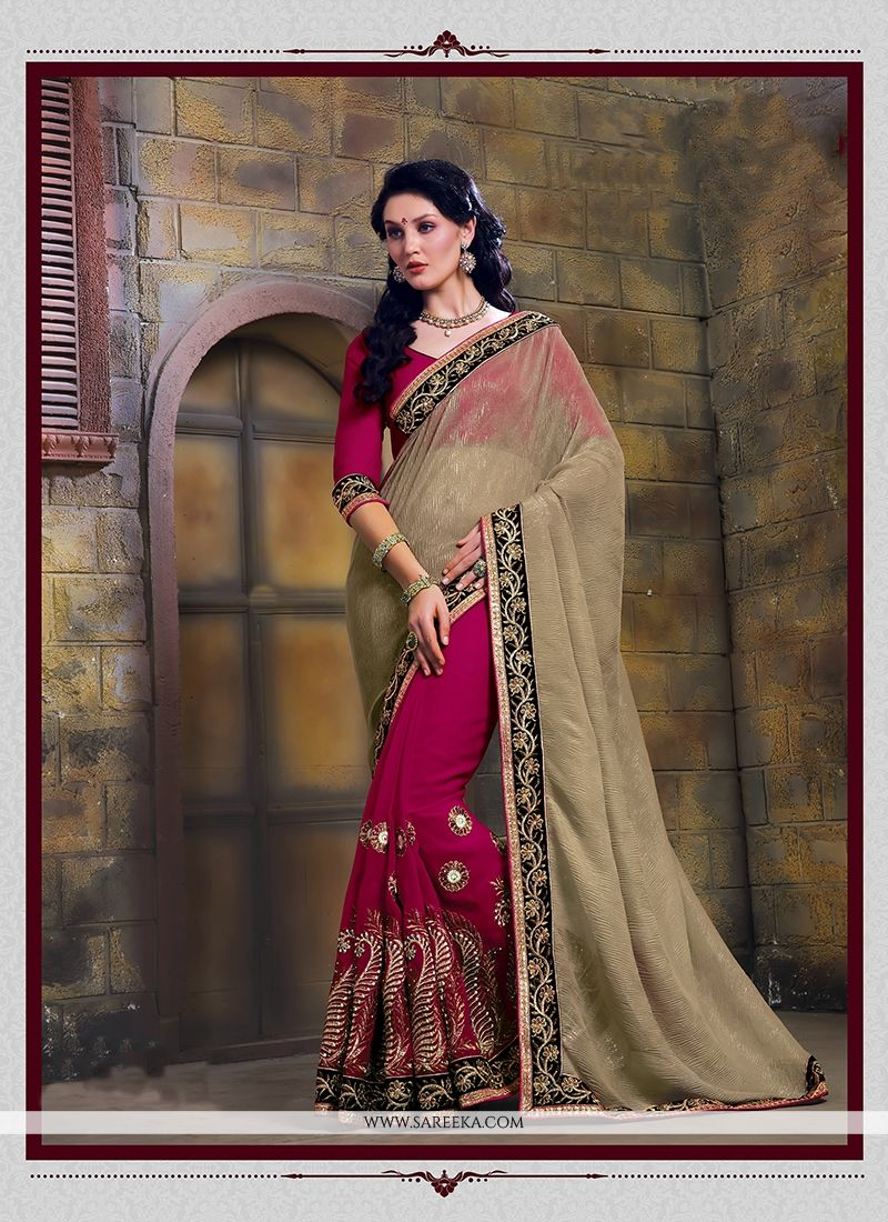 Magenta Patch Border Work Designer Saree