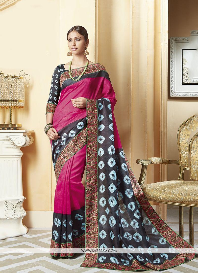 Magenta Patch Border Work Silk Printed Saree