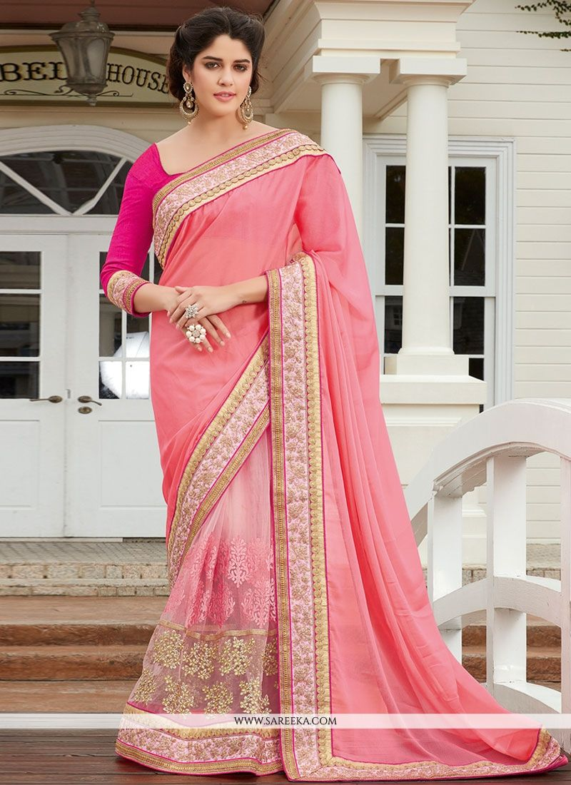 0ec34cead9 Buy Net Pink Designer Half N Half saree Online : Singapore -
