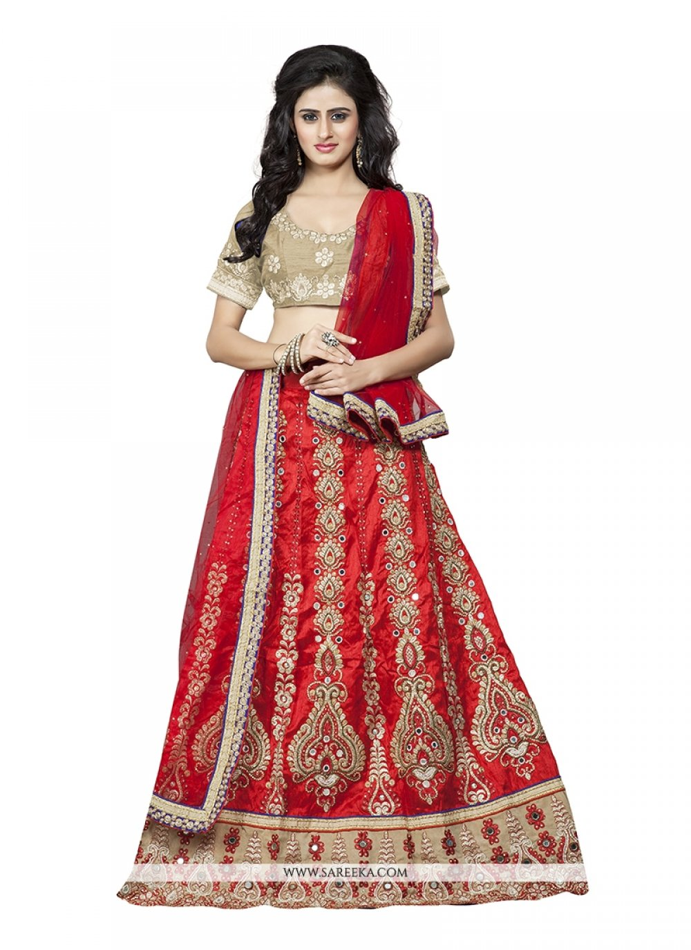 Silk Red A Line Lehenga Choli