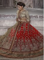 Embroidered Work Red Net Lehenga Choli