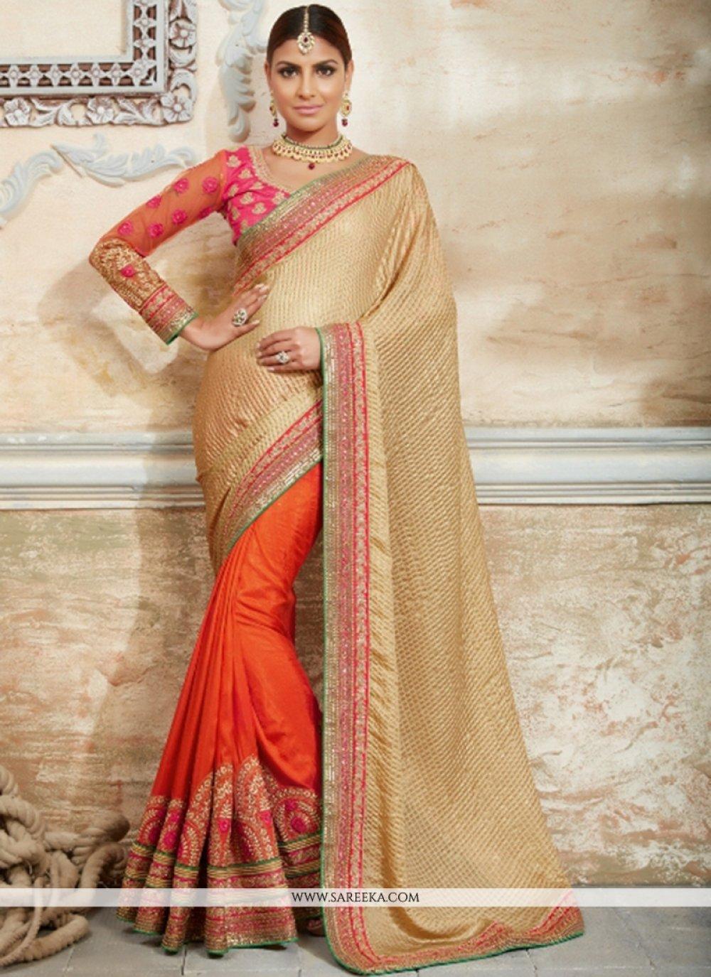 Georgette Orange Traditional Designer Sarees
