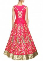 Raw Silk Pink A Line Replica Lehenga Choli