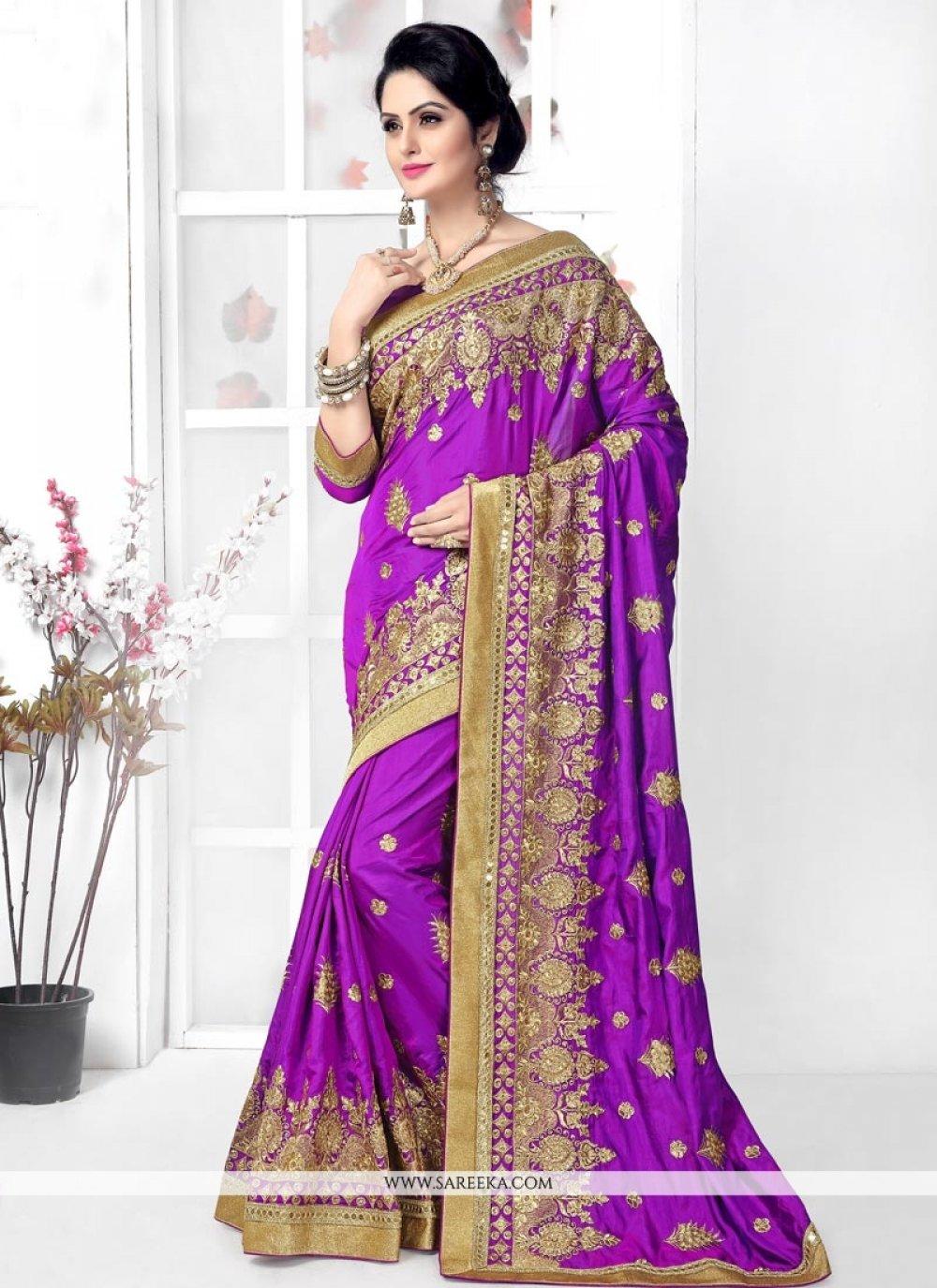 Silk Purple Designer Traditional Sarees