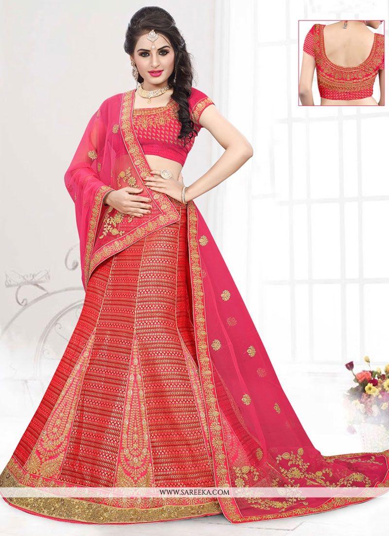 8a6561d897 Buy Red Patch Border Work Art Silk A Line Lehenga Choli Online : Indian  Ethnic Wear - Lehenga Choli
