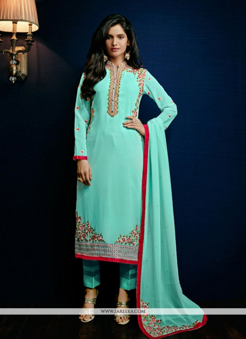 Resham Work Georgette Turquoise Pant Style Suit