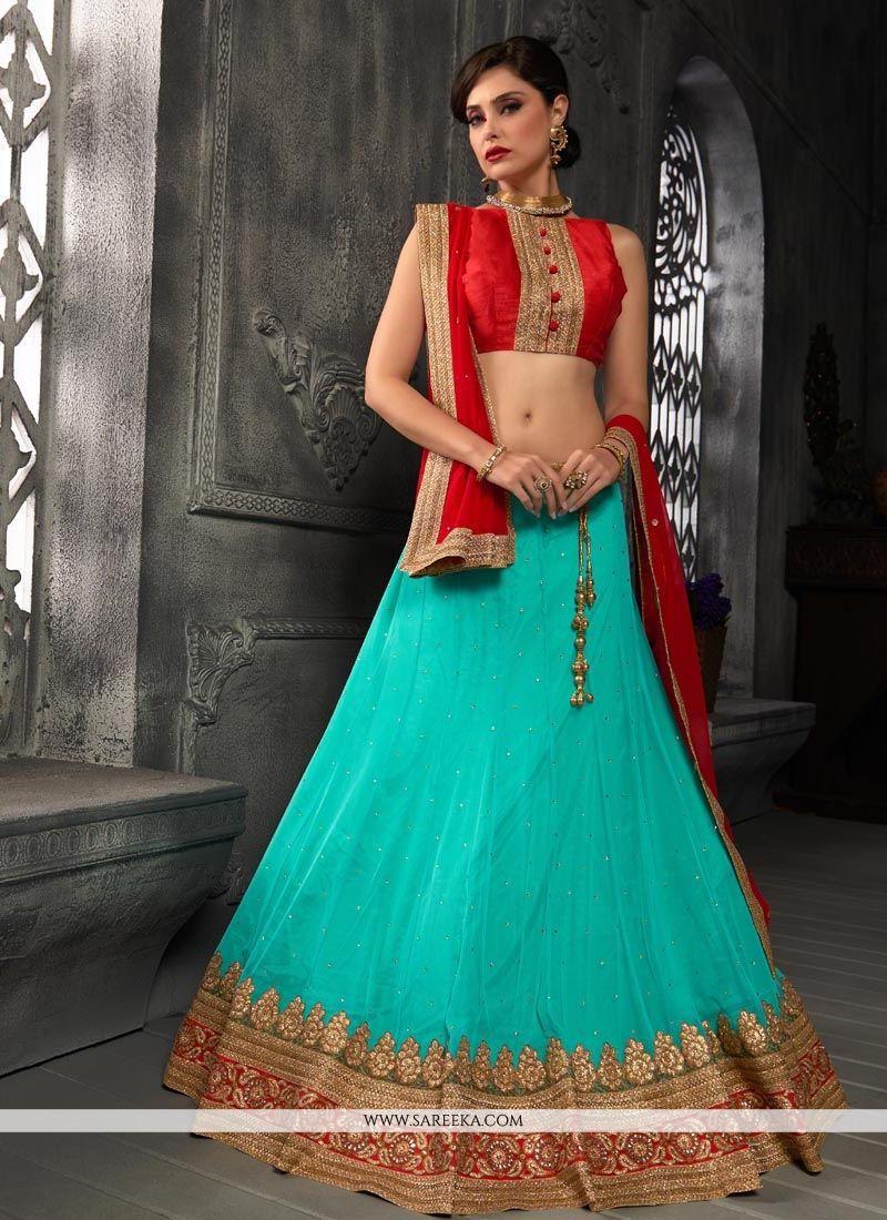 Turquoise A Line Lehenga Choli