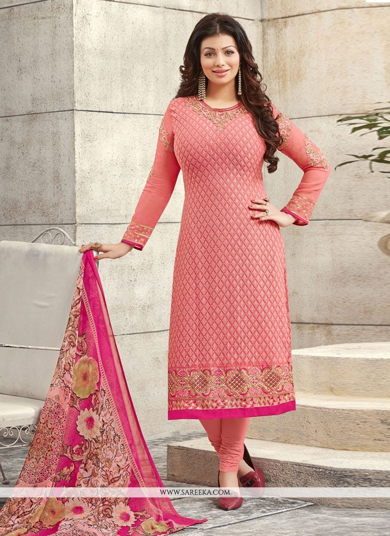 Pink Georgette Churidar Designer Suit