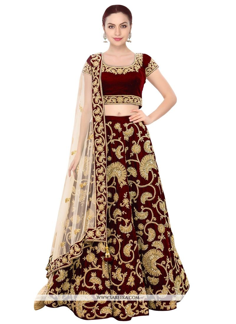 e604d53a3f Buy Velvet Embroidered Work A Line Replica Lehenga Choli Online at lowest  price -