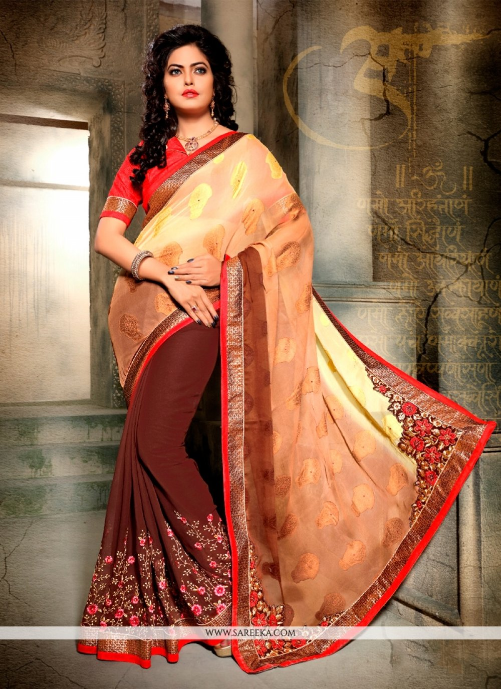 Brown Designer Half N Half saree