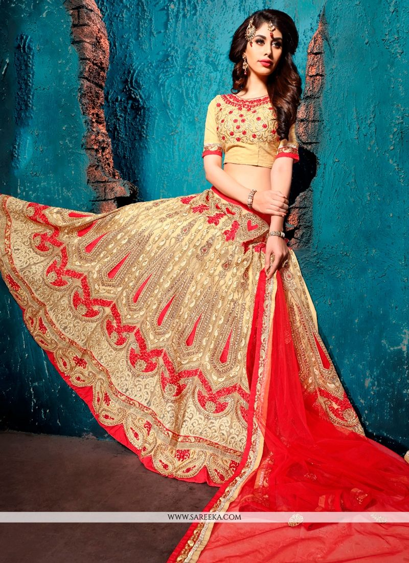 Embroidered Work Beige A Line Lehenga Choli