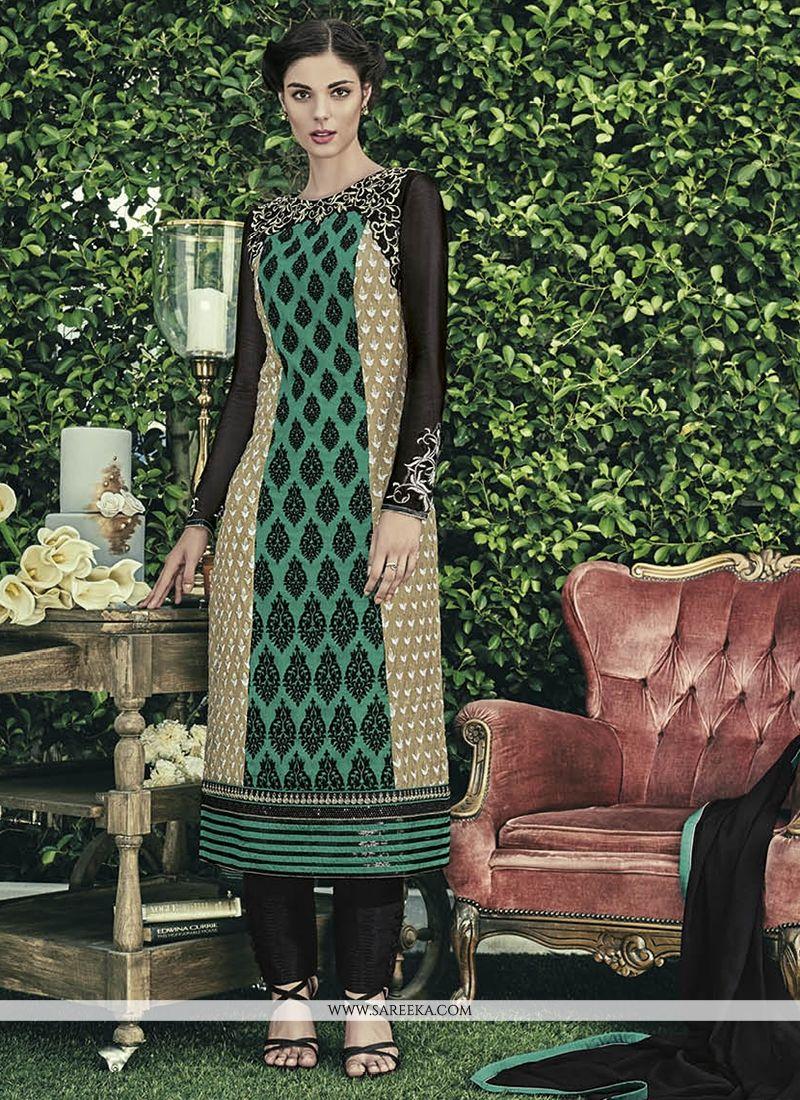 Faux Chiffon Embroidered Work Designer Straight Salwar Kameez
