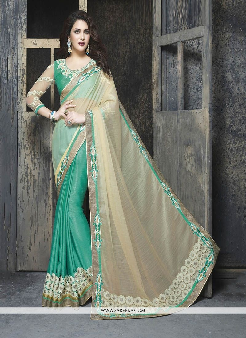 Faux Chiffon Sea Green Patch Border Work Classic Designer Saree