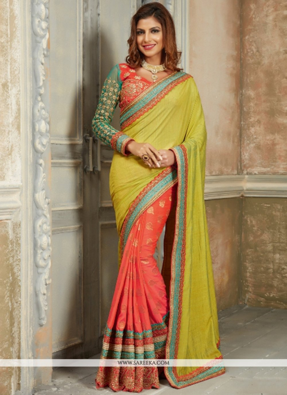 Georgette Orange Traditional Designer Sarees