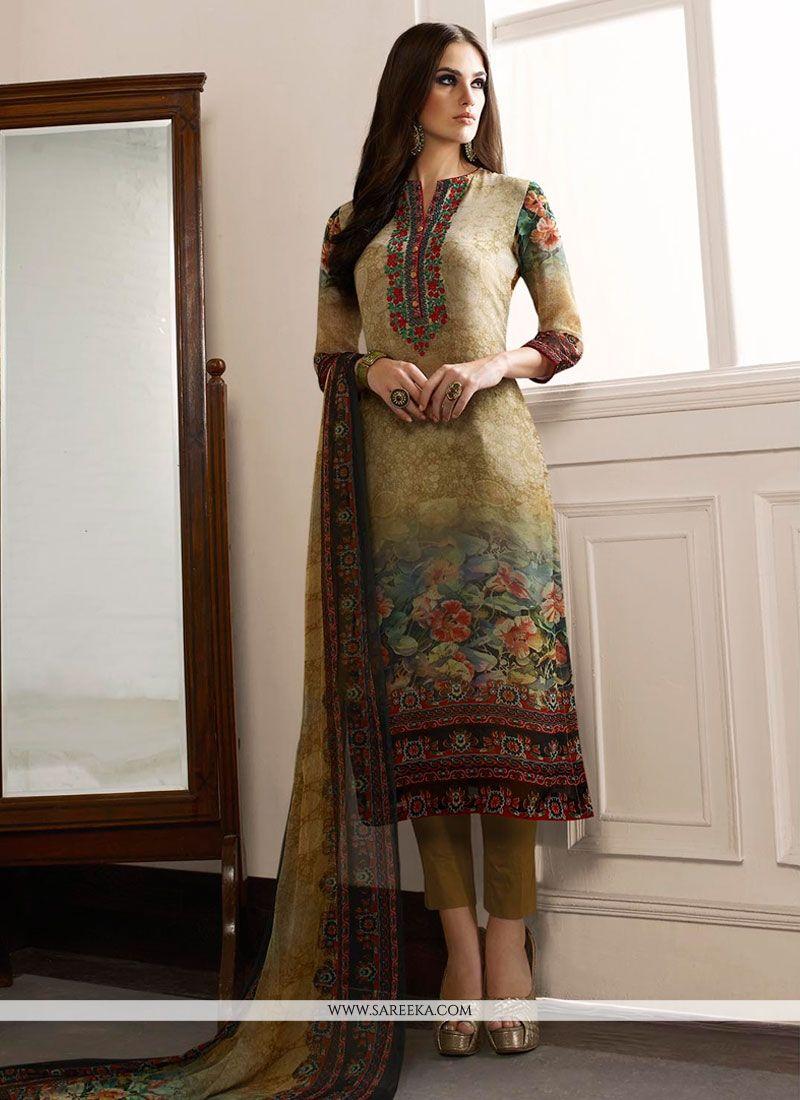 Print Work Georgette Designer Straight Salwar Kameez