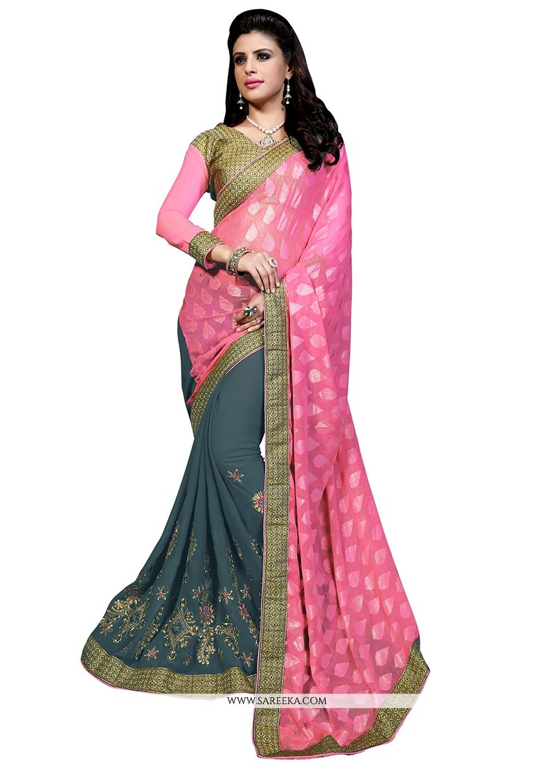 Shimmer Georgette Patch Border Work Designer Half N Half saree