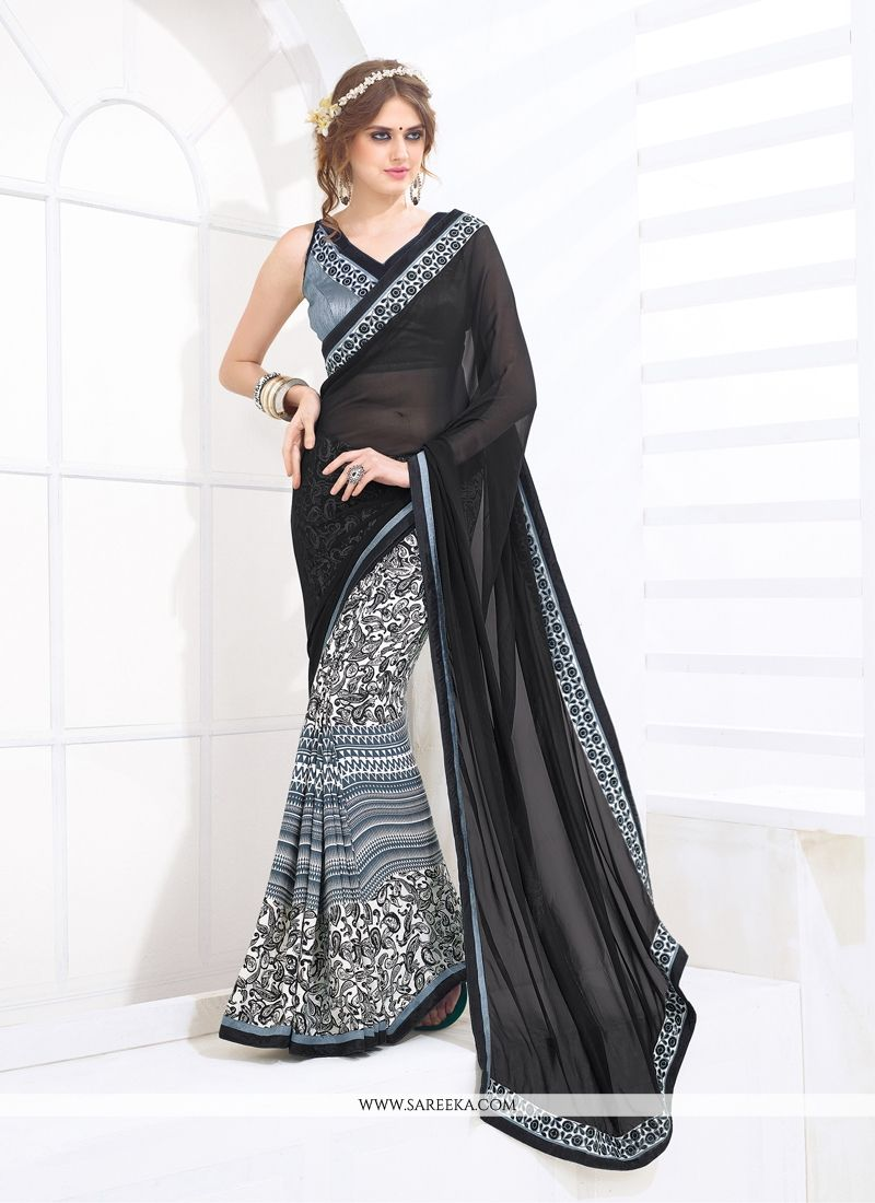 Black Print Work Casual Saree