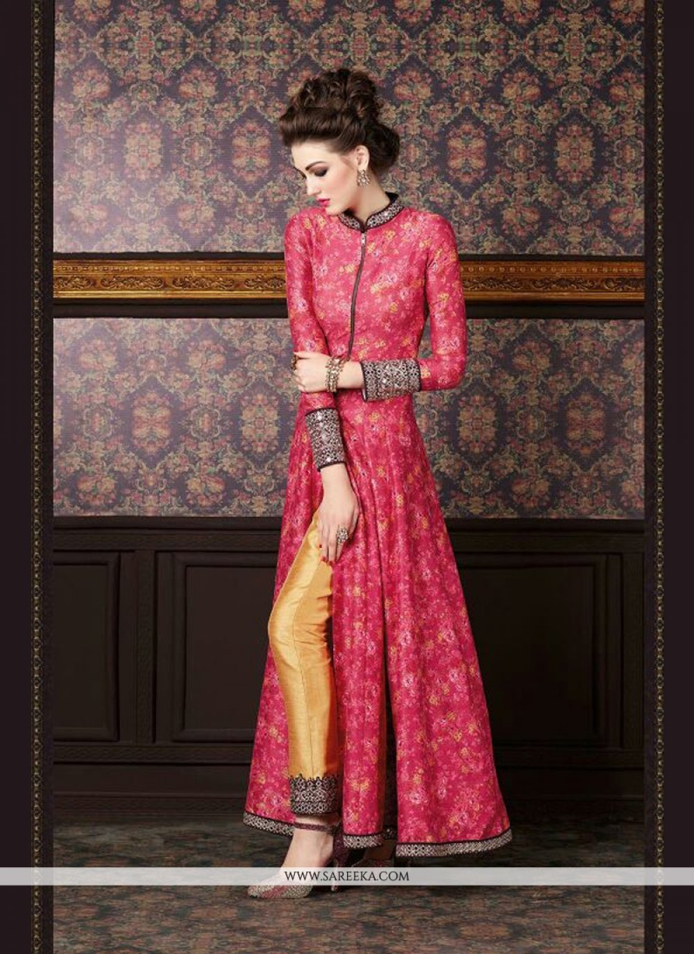 Embroidered Work Red and Yellow Silk Designer Suit