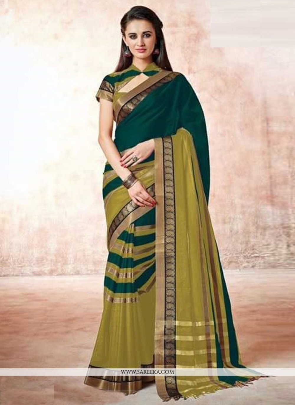 Lace Work Cotton   Casual Saree