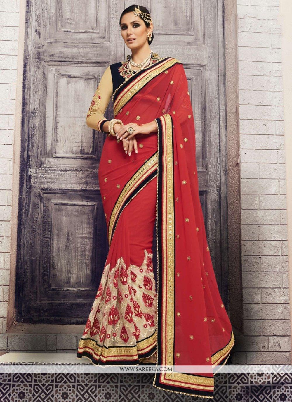 Red Embroidered Work Net Classic Designer Saree