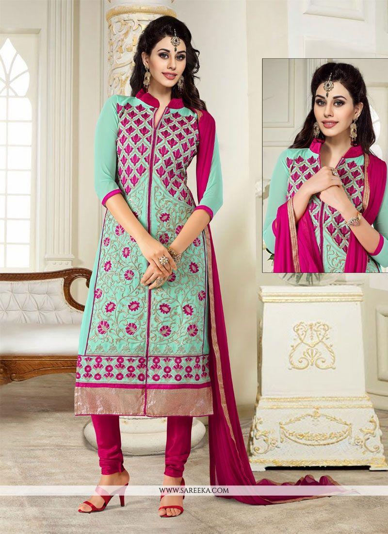 Turquoise Churidar Designer Suit