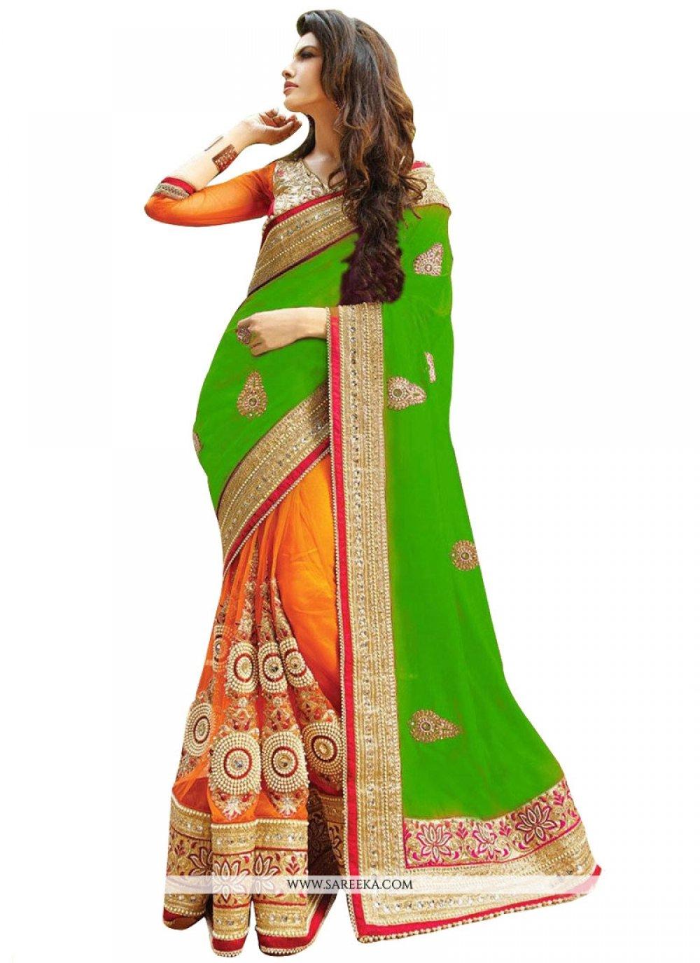 Zari Work Green and Orange Half N Half Designer Saree