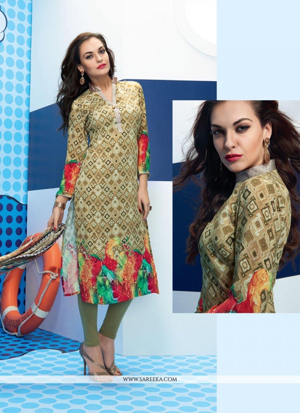 Multi Colour Satin Churidar Designer Suit