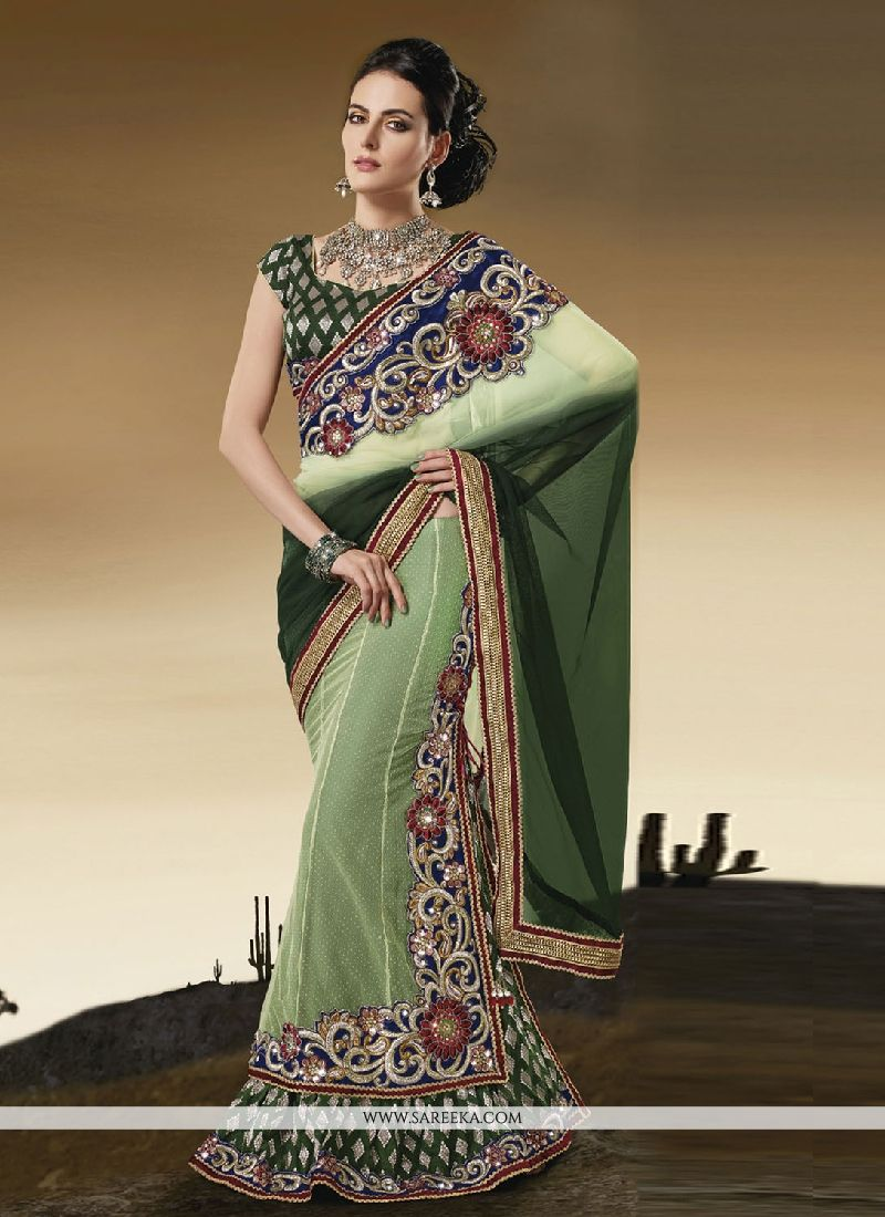 Net Patch Border Work Lehenga Saree