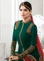 Patch Border Work Georgette Designer Straight Salwar Kameez