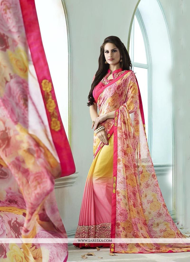 Pink and Yellow Patch Border Work Georgette Designer Saree