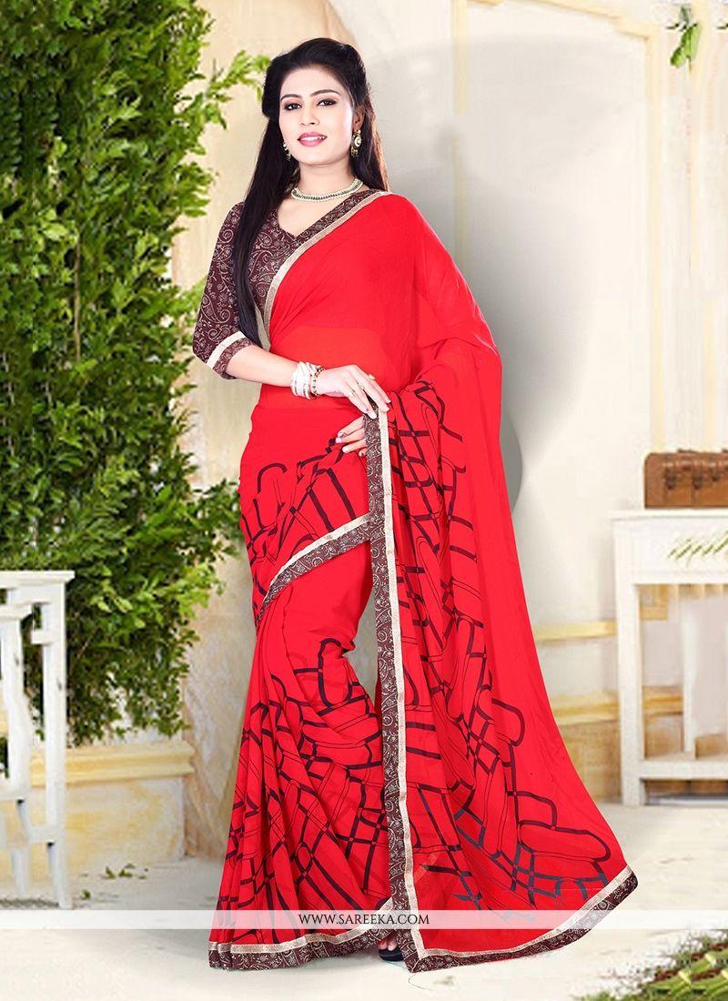 Red Print Work Georgette Designer Saree