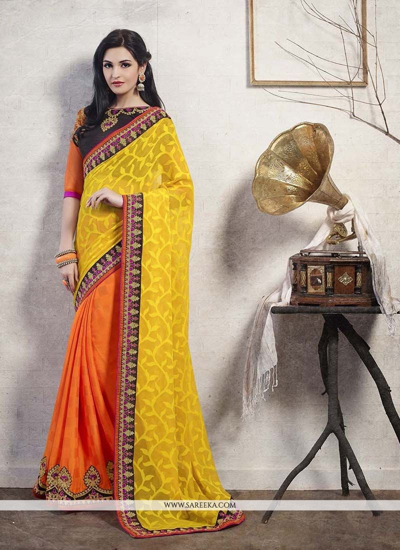 Brasso Georgette Patch Border Work Designer Saree
