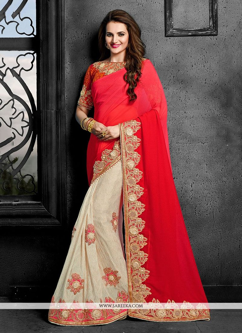 ea8ac59cd7cf9f Buy Faux Chiffon Red Designer Traditional Sarees Online : India -