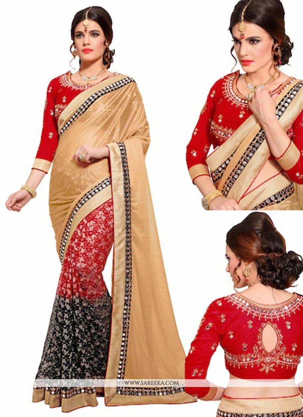 Lycra Embroidered Work Designer Half N Half saree