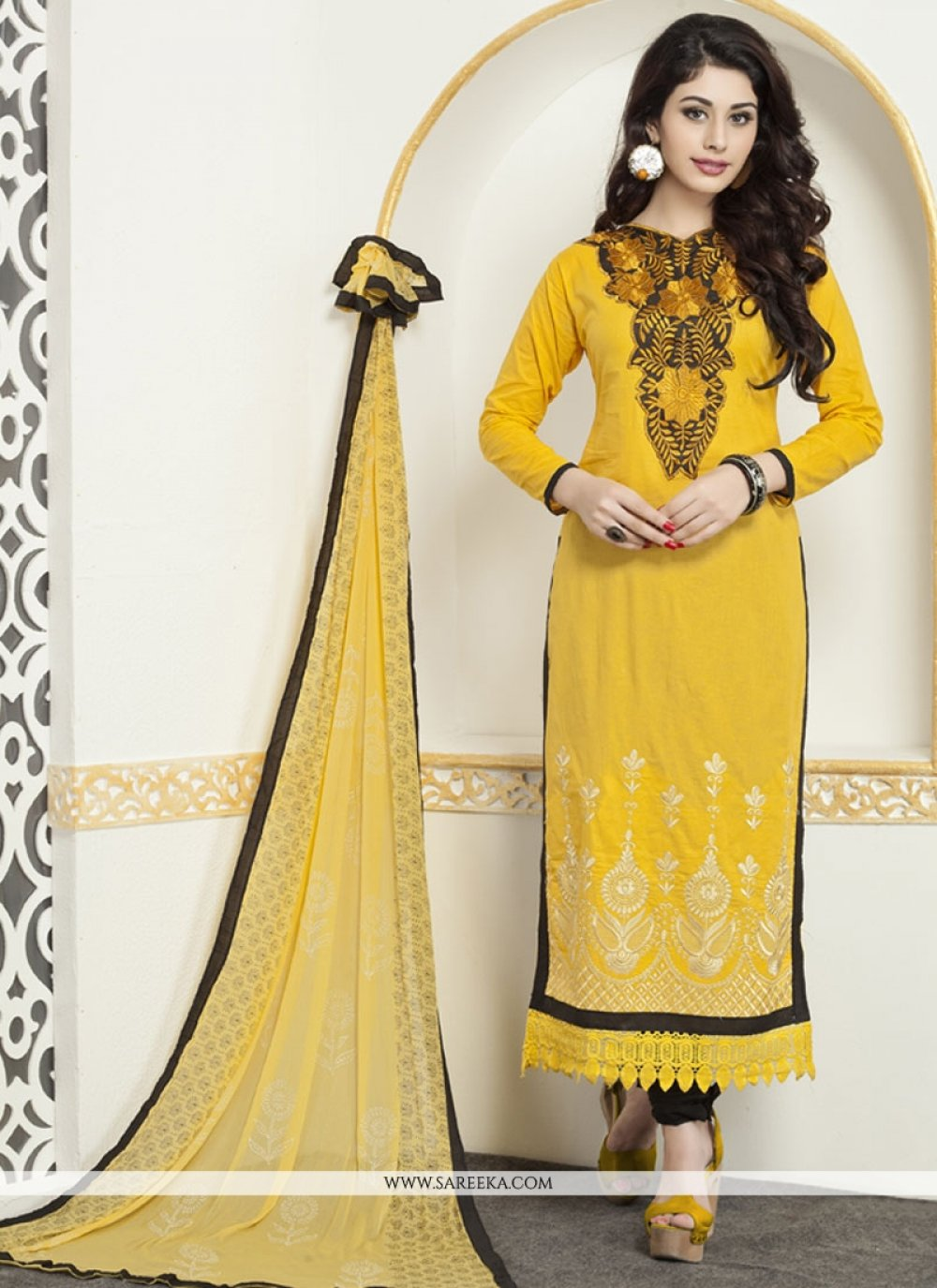 Embroidered Work Yellow Cotton   Churidar Designer Suit