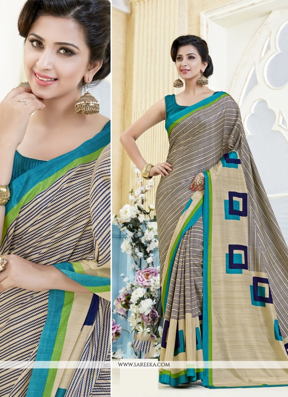 Kanchipuram silk Print Work Casual Saree